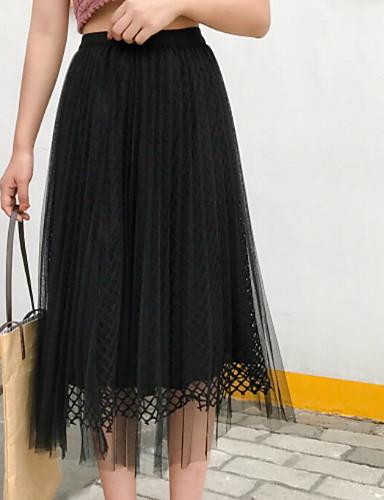 Damen Urlaub Midi Röcke Schaukel einfarbig Sommer