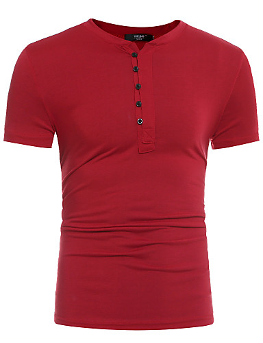 Homens Camiseta - Esportes Sólido Algodão Decote Redondo / Manga Curta / Longo