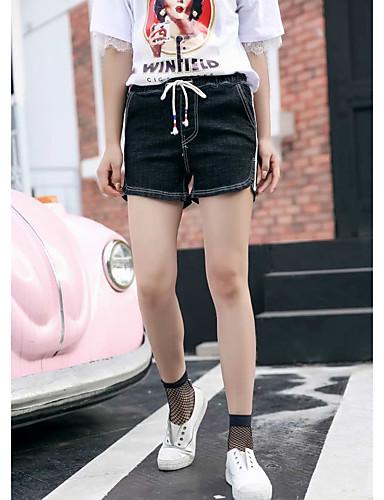Damen Einfach Hohe Hüfthöhe Mikro-elastisch Kurze Hosen Gerade Hose einfarbig