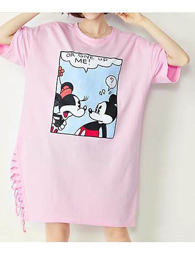 Dámské - Jednobarevné Jdeme ven Vintage / Šik ven Tričko, Tisk Bavlna