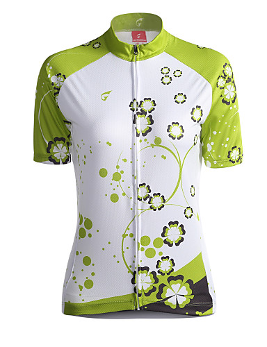 GETMOVING Women s Short Sleeve Cycling Jersey - Green Floral   Botanical Bike  Jersey Top Breathable Back Pocket Sports Coolmax® Mountain Bike MTB Road  Bike ... aa73b83c5