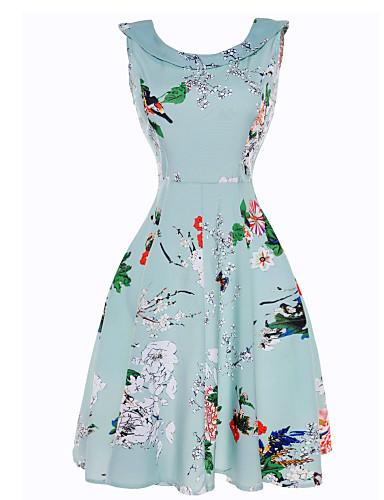Dámské Dovolená / Plážové Vintage Bavlna Pouzdro / Swing Šaty - Květinový Délka ke kolenům Úzký výstřih High Rise / Léto / Květinové vzory