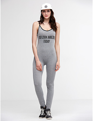Damen Druck Sport Aktiv Sexy Overall Skinny,Ärmellos Gurt Ganzjährig Polyester Elasthan