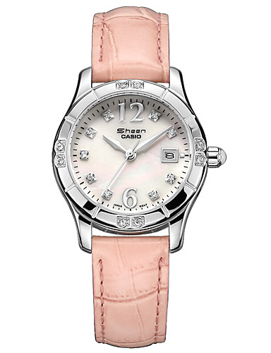 Casio Damen Modeuhr Armbanduhr Simulierter Diamant Uhr Japanisch Quartz Kalender Wasserdicht Leder Band Bettelarmband Bequem Luxuriös
