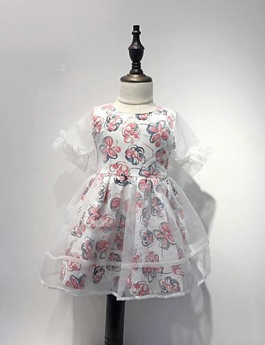Mädchen Kleid Baumwolle Sommer Blumig Rosa