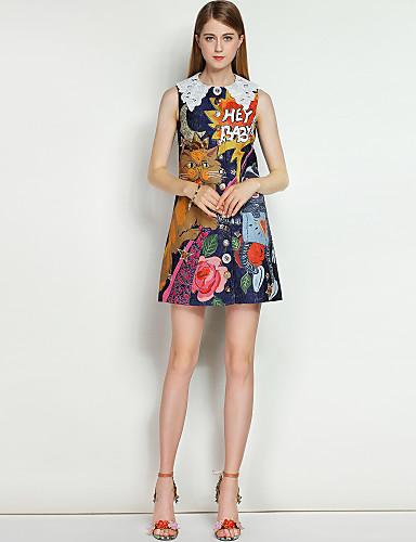 Damen Strand Street Schick A-Linie Kleid - Blume, Blumen / Tier Übers Knie Hemdkragen