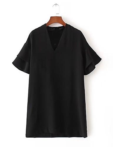 Damen Lose Etuikleid T Shirt Kleid-Ausgehen Lässig/Alltäglich Einfach Street Schick Solide V-Ausschnitt Übers Knie Kurzarm Seide Baumwolle