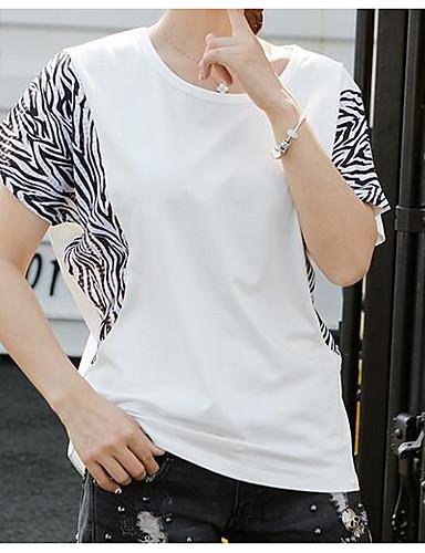 Mulheres Camiseta Casual Estampa Colorida Algodão