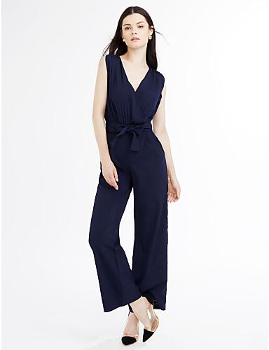 Mulheres Para Noite Moda de Rua Macacão Sólido Decote V Cintura Alta Perna larga