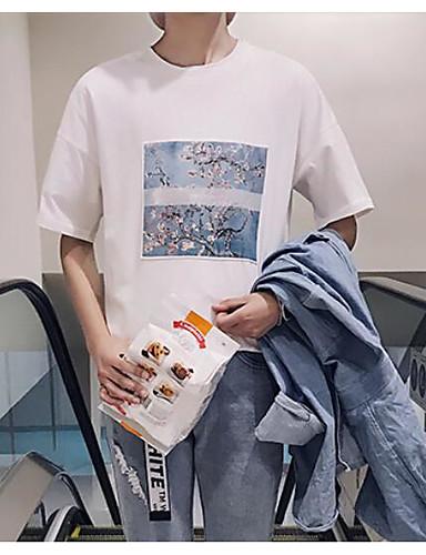 Herren Geometrisch Einfach Lässig/Alltäglich T-shirt,Rundhalsausschnitt Sommer Kurzarm Baumwolle Mittel