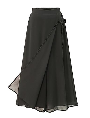 Mulheres Moda de Rua Tamanhos Grandes Solto / Culotte / Largo Calças - Sólido Laço