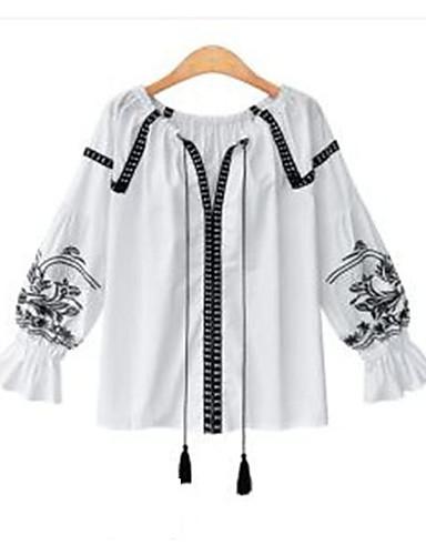 Dámské Jednobarevné Jdeme ven Běžné/Denní Jednoduché Košile Polyester Do V Dlouhý rukáv