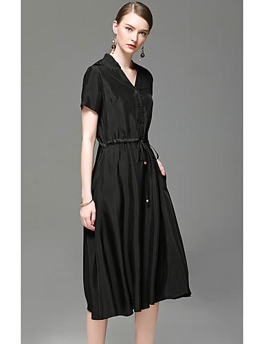 Damen A-Linie Kleid-Ausgehen Lässig/Alltäglich Solide V-Ausschnitt Übers Knie Kurzarm Kunstseide Frühling Sommer Hohe Hüfthöhe