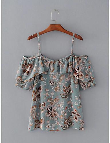 Damen Blumen Sexy Einfach Street Schick Ausgehen Lässig/Alltäglich T-shirt,Gurt Sommer Kurzarm Baumwolle Dünn Mittel