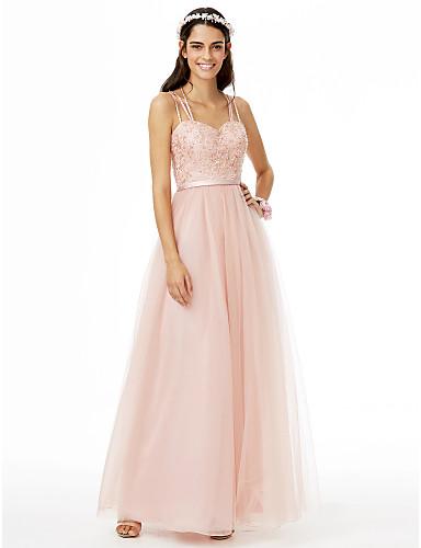 1ac23cb372c2 play video. Χαμηλού Κόστους Φορέματα Παρανύμφων-Γραμμή Α Λεπτές Τιράντες Μακρύ  Δαντέλα   Τούλι Φόρεμα ...