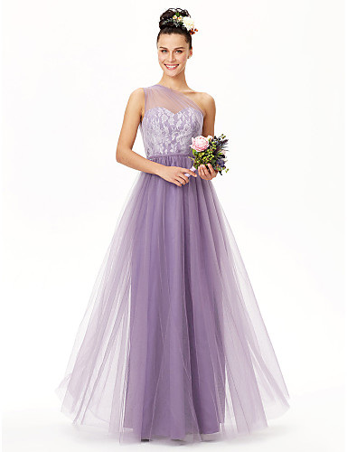 A-Line One Shoulder Floor Length Lace Over Tulle Bridesmaid Dress with Lace / Sash / Ribbon / Pleats by LAN TING BRIDE®