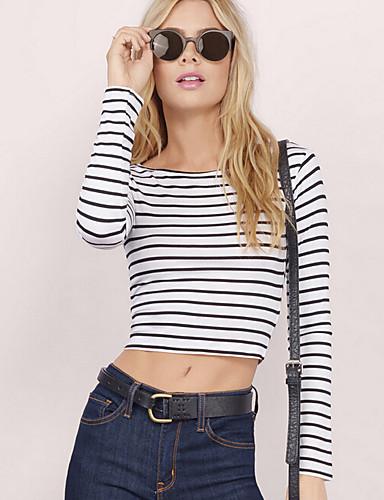 Damen Gestreift Einfach Lässig/Alltäglich T-shirt,Rundhalsausschnitt Frühling Sommer Langarm Polyester Mittel