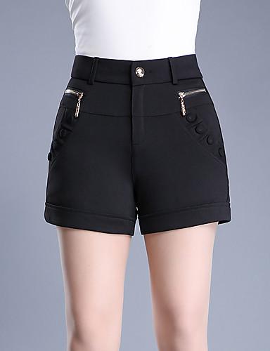 Damen Einfach Hohe Hüfthöhe Mikro-elastisch Kurze Hosen Schlank Hose,Reine Farbe Pailletten Perlenbesetzt einfarbig