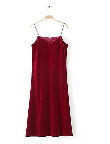 Damen Hülle Kleid-Party/Cocktail Solide V-Ausschnitt Übers Knie Ärmellos Andere Sommer Mittlere Hüfthöhe Mikro-elastisch Dünn