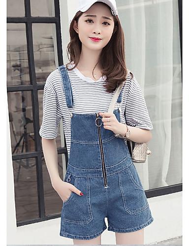 Damen Einfach Hohe Hüfthöhe Mikro-elastisch Jeans Lose Hose einfarbig