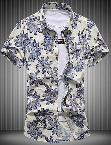 Herrn Blumen - Retro Street Schick Baumwolle Hemd, Umlegekragen Print