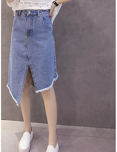 Damen Urlaub Asymmetrisch Röcke A-Linie einfarbig Sommer