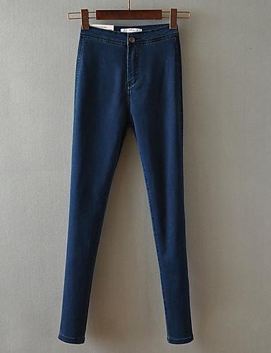 Mulheres Cintura Alta Justas/Skinny Jeans Calças - Sólido