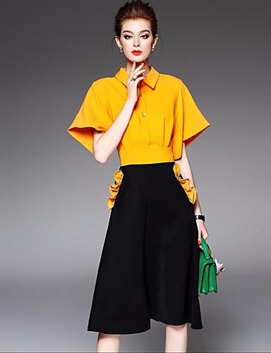 Damen Solide Freizeit Alltag Hemd Kleid Anzüge,Hemdkragen Frühling Sommer Halbarm 70% Wool30% Cotton Unelastisch