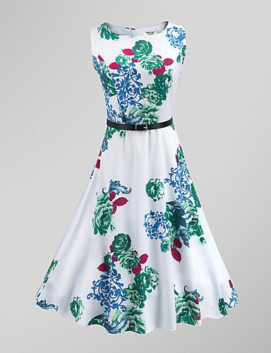 Mulheres Bainha balanço Vestido - Estilo vintage, Floral Cintura Alta