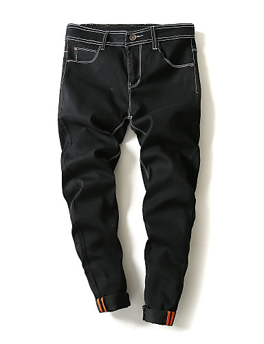 Pánské Jednoduchý Mikro elastické Volné Kalhoty Volný Mid Rise Jednobarevné