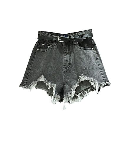 Dámské Jednoduchý Mikro elastické Kraťasy Kalhoty Rovné High Rise Jednobarevné
