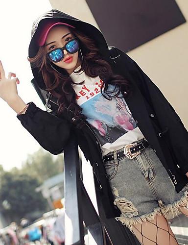 Damen Solide Einfach Lässig/Alltäglich Jacke,Mit Kapuze Frühling Sommer Lange Ärmel Standard Polyester