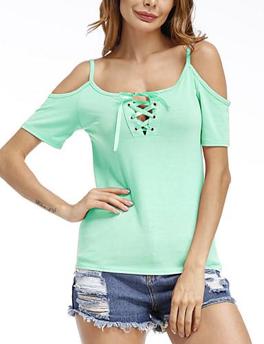 Damen Solide Einfach Anspruchsvoll Ausgehen Lässig/Alltäglich T-shirt,Gurt Alle Saisons Kurzarm Baumwolle Kunstseide