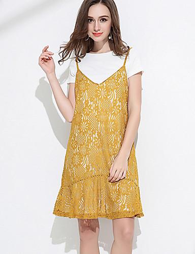 Dámské Jednobarevné Denní Trička Šaty Obleky-Léto Ramínka Krátký rukáv Mikro elastické