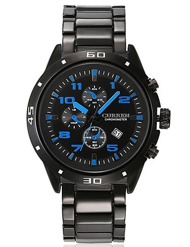 Homens Quartzo Relógio de Pulso Relógio inteligente Relógio Esportivo Chinês Calendário Impermeável Mostrador Grande Metal Banda Amuleto