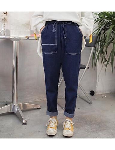 Damen Einfach Hohe Hüfthöhe Mikro-elastisch Jeans Lose Hose,Jeansstoff einfarbig