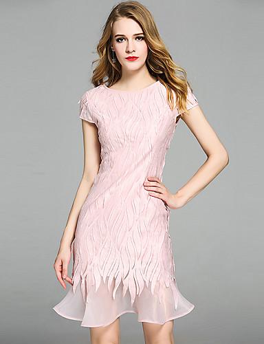 Dámské A Line Bodycon Pouzdro Šaty - Jednobarevné Výšivka, Volány Výšivka