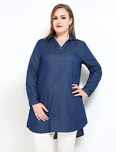 Mulheres Tamanhos Grandes Camisa Social Vintage Casual Sólido Decote V