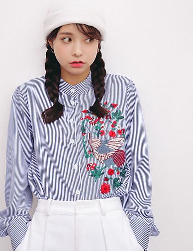 Damen Solide Gestreift Einfach Lässig/Alltäglich T-shirt,Ständer Langarm Baumwolle