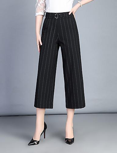 Damen Einfach Hohe Hüfthöhe Mikro-elastisch Chinos Breites Bein Hose,Streife Pailletten Gestreift