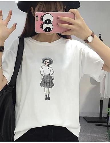 Damen Druck Street Schick Ausgehen T-shirt,Rundhalsausschnitt Kurzarm Baumwolle