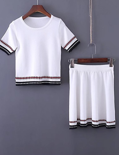 Women's Going out Daily Contemporary Summer Fall T-shirt Skirt Suits