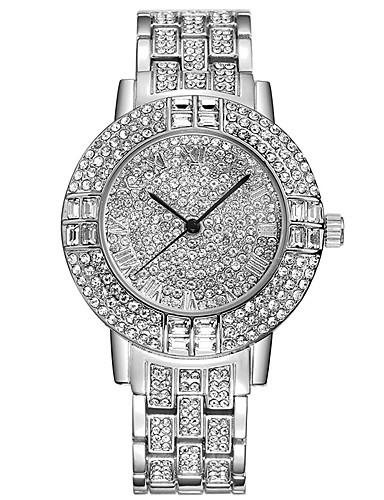 Mulheres Quartzo Relógio Pavé Simulado Diamante Relógio Bracele Relógio Chinês Com Strass imitação de diamante Aço Inoxidável Banda