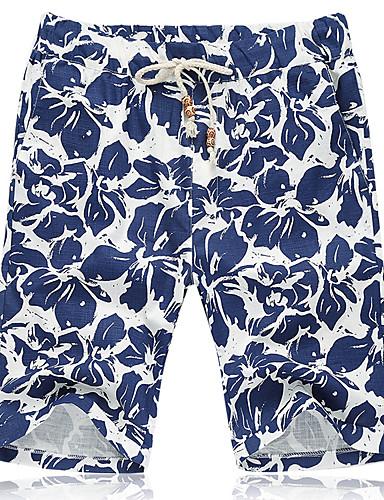 Men's Casual Active Plus Size Cotton Linen Loose Shorts Pants - Floral