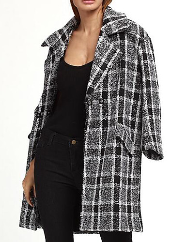 Women's Wool Coat - Geometric Shirt Collar / Spring