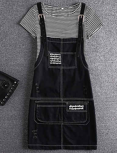 Women's Going out Cute Summer T-shirt Pant Suits,Striped Round Neck Short Sleeve Inelastic