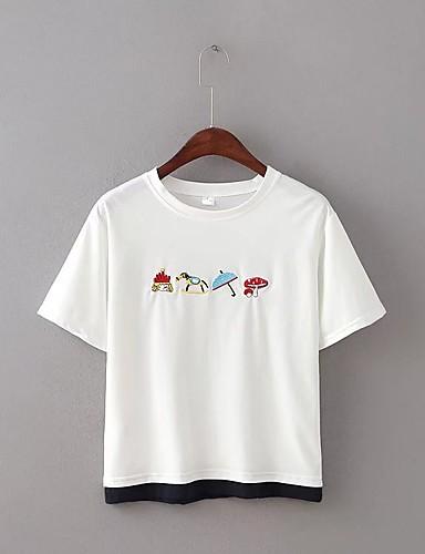 Bomull Tynn Medium Kortermet,Rund hals T-skjorte Broderi Sommer Enkel Sexy Gatemote Ut på byen Fritid/hverdag Dame