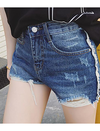 Women's High Waist Micro-elastic Relaxed Jeans Shorts Pants,Sexy Solid Summer