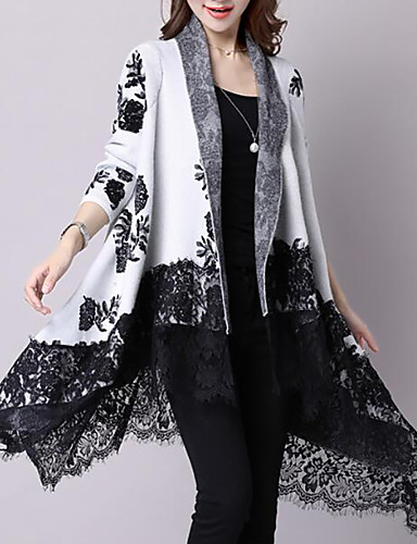 Women's Daily Print Floral Long Sleeve Loose Long Cardigan, V Neck Fall / Winter Cotton White / Gray M / L / XL