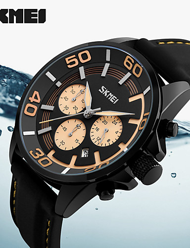 Men's Sport Watch Military Watch Smartwatch Quartz Digital 50 m Calendar / date / day Chronograph Creative Genuine Leather Band Analog Charm Casual Fashion Multi-Colored - Yellow Red Blue Two Years